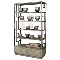 Gwyneth Modern Classic 6 Shelf Dark Taupe Display Bookcase Etagere | Kathy Kuo Home