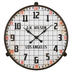 Gymnasium Industrial Rustic Red Accent Wall Clock | Kathy Kuo Home