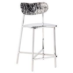 Haines Modern Classic Silver Cowhide Counter Stool | Kathy Kuo Home