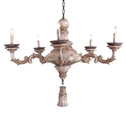 Halette French Rust Taupe Pendant Drop 6-Light Chandelier | Kathy Kuo Home