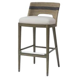 Hallie Coastal Striped Grey Rope Counter Stool | Kathy Kuo Home