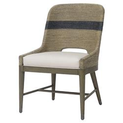 Hallie Coastal Striped Grey Rope Side Chair | Kathy Kuo Home