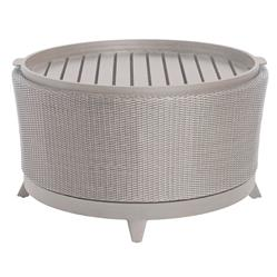 Halo Tray Grey Oyster Wicker Outdoor Coffee Table | Kathy Kuo Home
