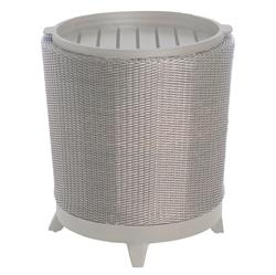 Halo Tray Grey Oyster Wicker Outdoor End Table | Kathy Kuo Home