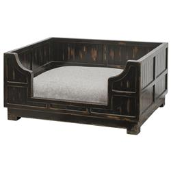 Hank Rustic Lodge Dark Wood Crate Pet Bed | Kathy Kuo Home