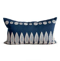 Hanson Navy Blue Natural Hand Embroidered Pillow - 14x24 | Kathy Kuo Home