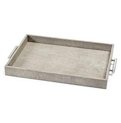 Hapuna Coastal Beach Ivory Grey Faux Shagreen Silver Rectangle Tray | Kathy Kuo Home