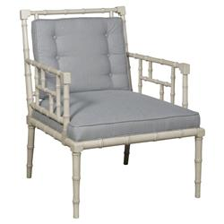 Harmony Coastal Grey Bamboo Cloud Blue Armchair | Kathy Kuo Home