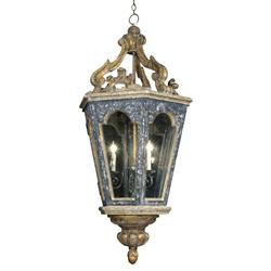 Harrietta French Blue Gold Carved Lantern Pendant Light - 48H | Kathy Kuo Home