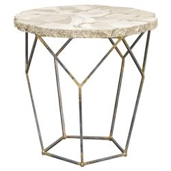 Haskell Coastal Inlaid Clam Shell Gold Iron End Table | Kathy Kuo Home