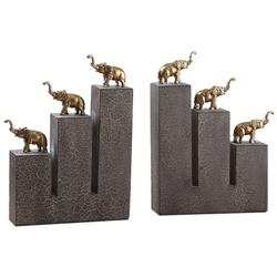Hathi Global Bazaar Antique Gold Stacked Elephant Bookends - Pair | Kathy Kuo Home