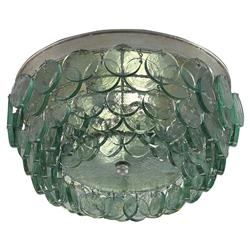 Hatteras Coastal Beach Teal Glass Disc Ceiling Mount | Kathy Kuo Home