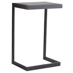 Hattie Industrial Loft Grey Antiqued Mirror Black Iron Side End Table | Kathy Kuo Home