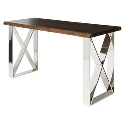 Haven Industrial Loft Brown Metallic Console Table | Kathy Kuo Home