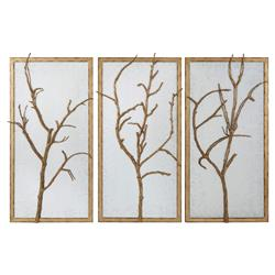 Hawthorn Trio Hollywood Regency Gilt Wood Frame Cast Branch - Set of 3 | Kathy Kuo Home