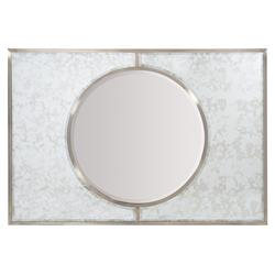 Hayley Hollywood Regency Antique Nickel Beveled Round Mirror | Kathy Kuo Home