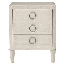 Hayley Hollywood Regency Dove White 3 Drawer Nightstand | Kathy Kuo Home