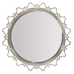 Hayley Hollywood Regency Stainless Steel Antique Nickel Round Mirror | Kathy Kuo Home
