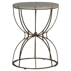Hedda Global Brass White Horn Hourglass End Table | Kathy Kuo Home