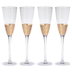 Helen Hollywood Regency Facetted Gold Leaf Design Glass Champagne Flutes - Set of 4 | Kathy Kuo Home