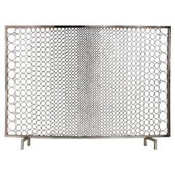 Hendrix Modern Classic Polished Nickel Ring Fire Place Screen | Kathy Kuo Home