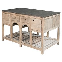 Henrietta Rustic Lodge Reclaimed Pine Stone Top 4 Drawer Kitchen Island | Kathy Kuo Home