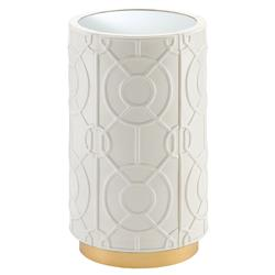 Higgins Modern Regency Round Glass Top White Leather Gold Side Table | Kathy Kuo Home