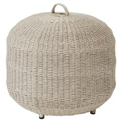 Hines Coastal Taupe Rope Outdoor Hassock | Kathy Kuo Home
