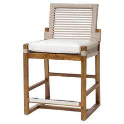 Hines Ivory Rope Teak Outdoor Counter Stool | Kathy Kuo Home