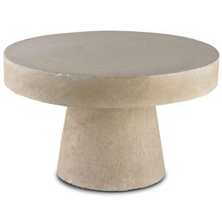 Hiram Industrial Loft Polished Stone Round Coffee Table | Kathy Kuo Home