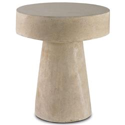 Hiram Industrial Loft Polished Stone Round Side Table | Kathy Kuo Home