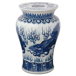 Hiro Global Bazaar Blue Dragon Garden Stool | Kathy Kuo Home