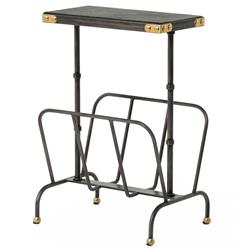 Hobart Iron Waxed Black Industrial Loft Magazine Rack Side Table | Kathy Kuo Home