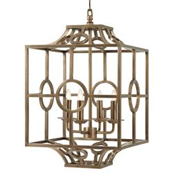 Holbeck Modern Classic Four Light Brass Pagoda Cage Chandelier | Kathy Kuo Home