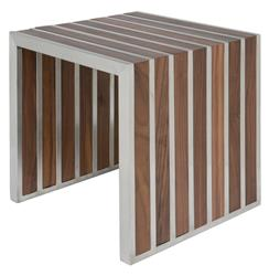 Holden Stainless Steel Walnut Wood Slatted Modern Side Table | Kathy Kuo Home