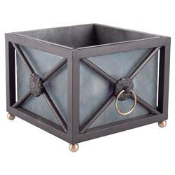 Hollywood Regency Black Gold Metal Decorative Planter - 18W | Kathy Kuo Home