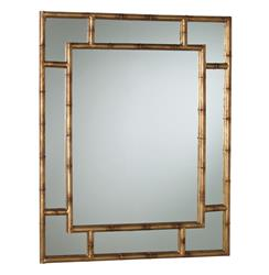 Hollywood Regency Faux Bamboo Gold Leaf Rectangle Mirror | Kathy Kuo Home