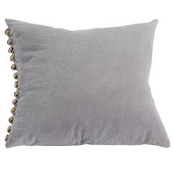 Horn Button Rustic Lodge Grey Cotton Pillow - 20x20 | Kathy Kuo Home