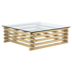 Horton Modern Classic Gold Glass Square Coffee Table | Kathy Kuo Home