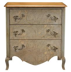Houdon French Country Cherry Wood Blue Arabesque Chest Dresser
