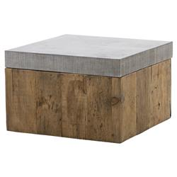 Hubbard Rustic Loft Reclaimed Wood Bluestone Square Bunching Coffee Table | Kathy Kuo Home