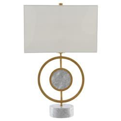 Hunter Mid Century Modern Marble Accent Antique Brass Rings Table Lamp | Kathy Kuo Home