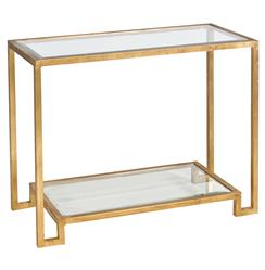 Hutton Hollywood Regency Glass Gold Console Table | Kathy Kuo Home