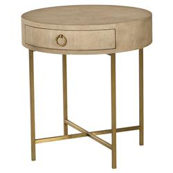 ianthe hollywood linen shagreen gold end table kathy kuo home
