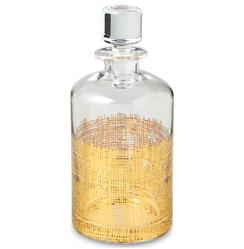 Icicle Hollywood Regency Gold Crosshatch Cylinder Decanter | Kathy Kuo Home