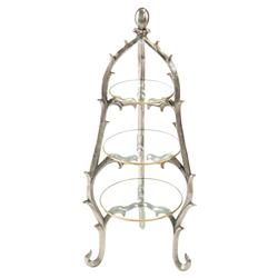 Ida Modern Classic 3-Tier Glass Silver Branch Serving Stand | Kathy Kuo Home