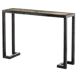 Ilardi Modern Black Wood Charcoal Vellum Console Table - 48W | Kathy Kuo Home