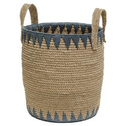 Iman Global Coastal Woven Slate Blue Trim Basket | Kathy Kuo Home