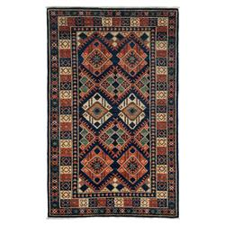 Imara Rust Indigo Woven Wool Tribal Rug - 4'1 x 6'6 | Kathy Kuo Home