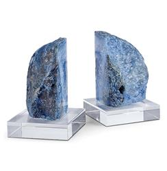 Imperial Coastal Beach Blue Geode Crystal Bookends | Kathy Kuo Home